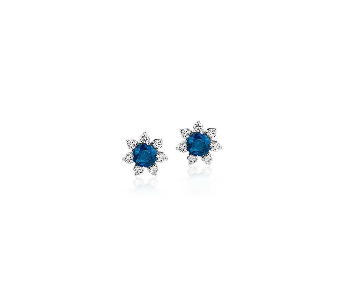 Blue Nile 迷你蓝宝石耳环 配14k白金钻石花卉圈式耳环 3.5mm