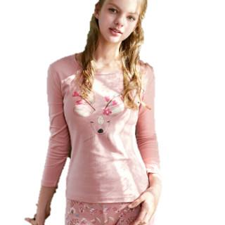 海之宁 秋衣秋裤女学生 全棉少女薄款打底内衣圆领贴身内穿卡通可爱 H81QWNT022 粉色麋鹿 S码