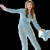 海之宁 秋衣秋裤女学生 全棉少女薄款打底内衣圆领贴身内穿卡通可爱 H81QWNT021 蓝色麋鹿 L码