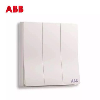 ABB开关插座无框轩致雅典白墙壁86型三开双控开关AF121 *2件