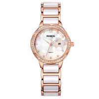劳士顿(ROSDN)手表 石英陶瓷时尚钟表潮流女士手表玫金色 L3170S-MRW