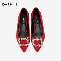 Daphne 达芙妮 女士尖头绒面低跟单鞋