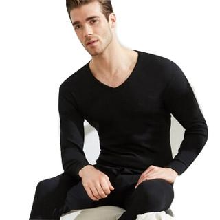 袋鼠 秋衣秋裤男纯棉保暖套装男士V领纯色打底薄款毛衫 DD41TT02A 黑色 L