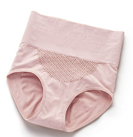 美·雅·挺 3条装蜂巢女士内裤 女无痕棉裆高腰收腹产后塑形女式纯色 藕粉+肤色+银灰 L