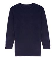 京东京造 男士薄款圆领长袖内衣 发热纤维身T恤 藏青色 S码