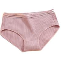 莫代尔 女士内裤女纯色棉质中腰透气清新少女风三角裤3条装 黑色/灰色/豆沙 XL