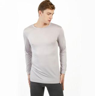 京东京造 男士薄款圆领长袖内衣 发热纤维身T恤 浅灰色 XL码