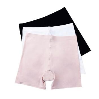 莫代尔 内裤 女士无痕冰丝平角纯色贴身透气防走光打底安全内裤女3条 混色 XL