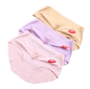 莫代尔 亲亲裤 女士内裤女纯棉底裆性感冰丝无痕三角内裤 紫色+肤色+粉色 均码