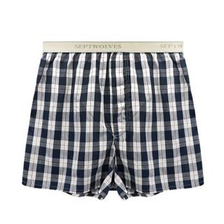 SEPTWOLVES 七匹狼 男士内裤阿罗裤男平角裤纯棉家居中腰短裤男睡裤 06491 藏青 XL
