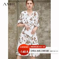 Amii极简气质法式复古连衣裙女2019夏季新款V领雪纺裙子