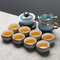 苏氏陶瓷茶具新窑变银丝釉陶瓷茶碗苹果茶杯13头功夫茶具套装