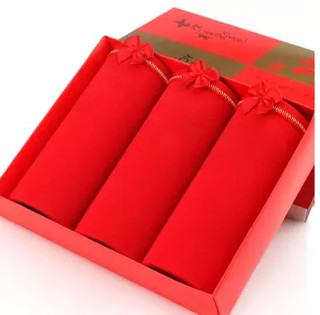 PLAYBOY 花花公子 大红内裤女本命年女士棉内裤大码纯色结婚礼物  5608-3条礼盒装   M