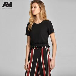 ANDREW MARC春夏女士T恤短款圆领时尚流苏短袖女