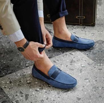 七面 男士绒面牛皮莫卡辛鞋