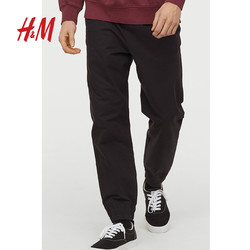 H&M男装运动长裤冬季款 斜纹棉布慢跑裤 HM0734305