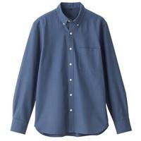 无印良品 MUJI 男式 新疆棉牛津面料染色 纽扣领衬衫