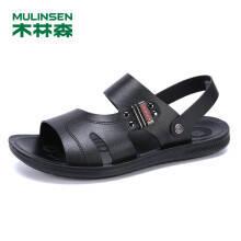 23日0点:木林森透气防滑男鞋 日常休闲男凉鞋简约舒适沙滩鞋凉拖鞋 黑色 40码 SM97745