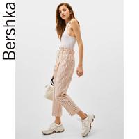 Bershka女士2019夏季新款青春条纹亚麻直筒休闲长裤 00091168615