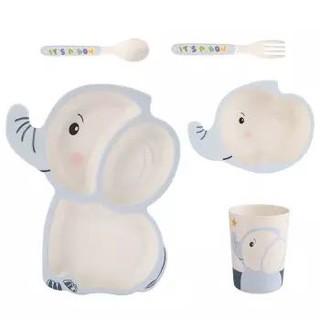 SHALL 希尔 萌象儿童餐具宝宝竹纤维餐具套装 5件套KT6625