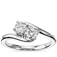 Blue Nile 14k白金单颗双石钻石戒指 3/4克拉总重量
