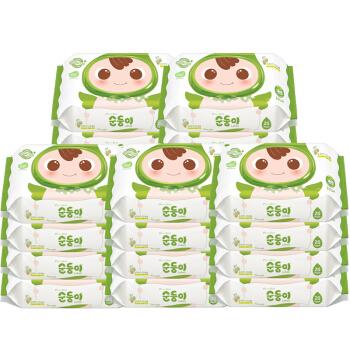 soondoongi 顺顺儿 新生儿柔纸巾 绿色便携 (20抽x20、手口湿巾、20抽)