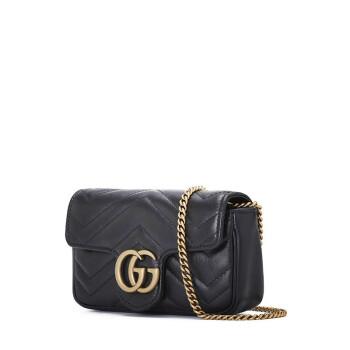 GUCCI 古驰 绗缝肩背包牛皮双G压纹奢侈品女包 GC18WI014434  黑色-超迷你.