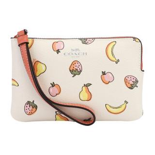 COACH 蔻驰 女士白色印花皮革短款零钱包手包 F73390 SVOUE