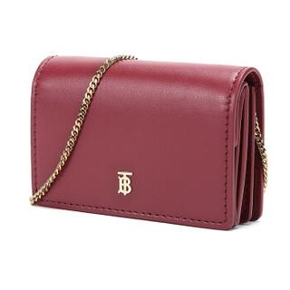 BURBERRY 博柏利 女款绯红色牛皮单肩斜挎包卡包零钱包 80097581