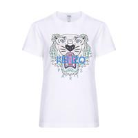 KENZO 高田贤三 女士白色虎头图案棉质圆领短袖T恤 F95 2TS721 4YB 01 XS码