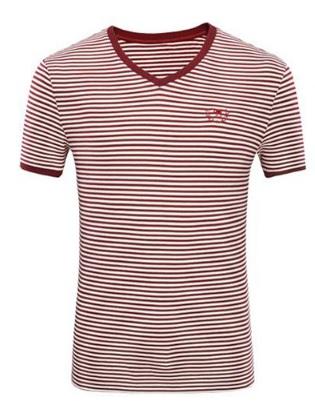CAMEL 骆驼 男装 V领绣标修身微弹休闲男青年短袖T恤衫 X7B201179