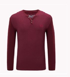 CAMEL 骆驼 男装 V领青年商务休闲绣标合身长袖T恤衫男 X7A265001