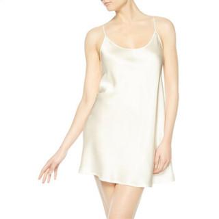LA PERLA 女士睡衣Silk系列高贵真丝绸缎吊带衬裙 吊带背心睡裙 0031白色 1/S