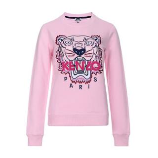 KENZO 高田贤三 女士淡粉色虎头图案棉质长袖套头衫卫衣 F95 2SW705 4XA 33