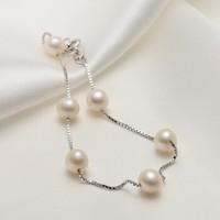 京润珍珠 S925银镶淡水珍珠手链 6-7mm