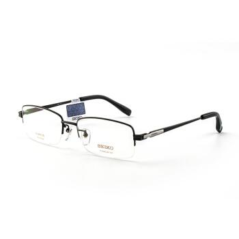 SEIKO 精 眼镜框男款半框纯钛经典系列眼镜架近视配镜光学镜架HT01080 113 55mm 黑色