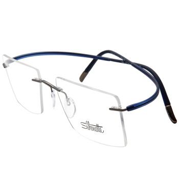 Silhouette 诗乐 光学眼镜架眼镜框男女款枪色镜框蓝色镜腿 5523 GN 6661 55MM