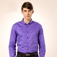 CAMEL 骆驼 男装 纯色扣领尖领长袖商务休闲衬衫 男士衬衣 D5C221427