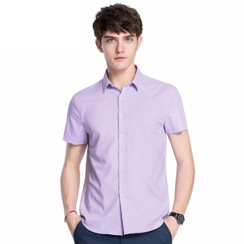 CAMEL 骆驼 男装 纯色短袖衬衫 商务青修身男衬衫 X8E257033