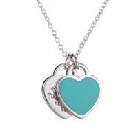 Tiffany&Co. 蒂芙尼 RETURN TO TIFFANY系列 30210417 时尚双心银饰吊坠项链  45cm 蓝色