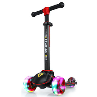 美洲狮(COUGAR )儿童滑步车四轮全闪加大滑板车MHBC019 黑红色