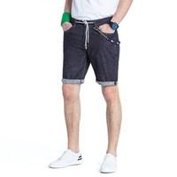 CAMEL 骆驼 男装中腰微弹牛仔裤 青年时尚休闲直筒五分裤 X8U269177