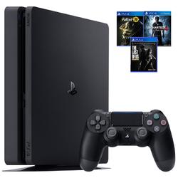 SONY 索尼 PlayStation 4 Slim(PS4) 游戏主机 500GB + 《辐射76》《神秘海域4》《美国末日 重制版》