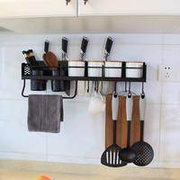 免打孔黑色厨房置物架刀架壁挂厨房收纳架储物架调料架厨具挂架子