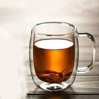 晨茗 双层玻璃杯 400ml 送5只茶包袋