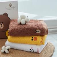 洁丽雅·兰 LINEFRIENDS布朗熊纯棉毛巾 3条/72.5*34cm*115g