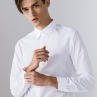 G2000 修身纯色休闲衬衫男舒适透气白衬衣男长袖 00040101