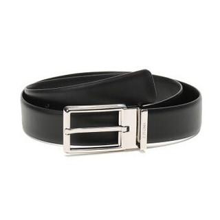 Z ZEGNA 杰尼亚 奢侈品 19新款 男士黑色牛皮针扣式皮带腰带配包装盒