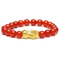 凤禧珠宝 黄金貔貅手链3D硬金足金玉石手链红玛瑙玉手串女款