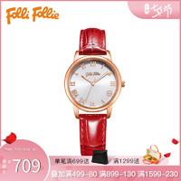 Folli Follie芙丽女手表简约四叶草石英机芯腕表皮革表带